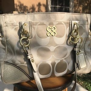 Coach gold bag with purple interior